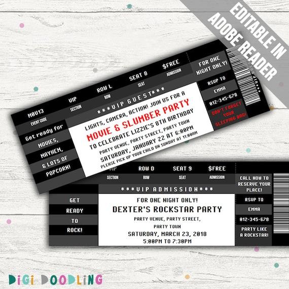 Ticket-Einladung-Vorlage Geburtstags-Party / Konzert / Film | Etsy