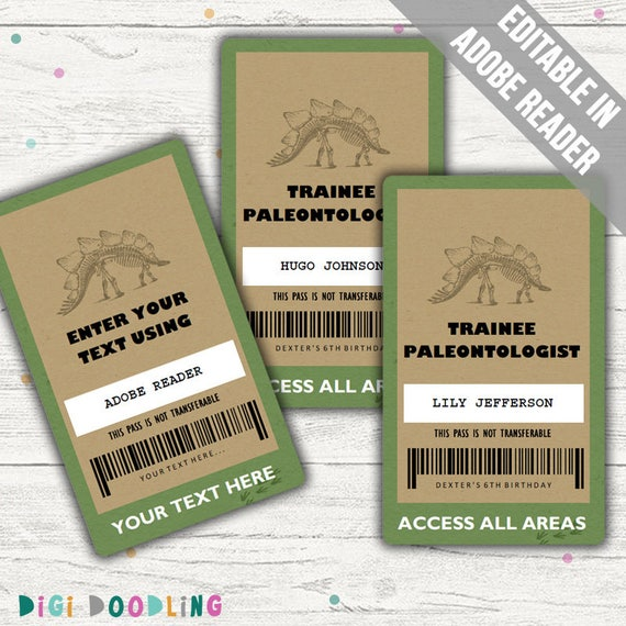 Self-Edit with CORJL All Access Pass INSTANT Download Printable Template Jurassic Park Dinosaur Party VIP Badge Dinosaur Birthday