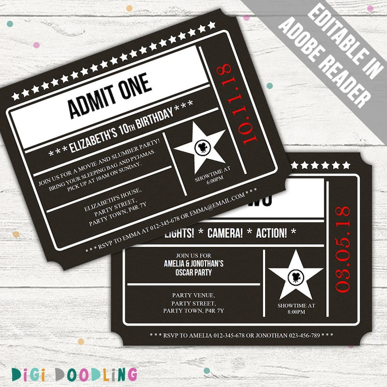 Movie Ticket Invitation Hollywood Party Editable PDF Printable Instant Download