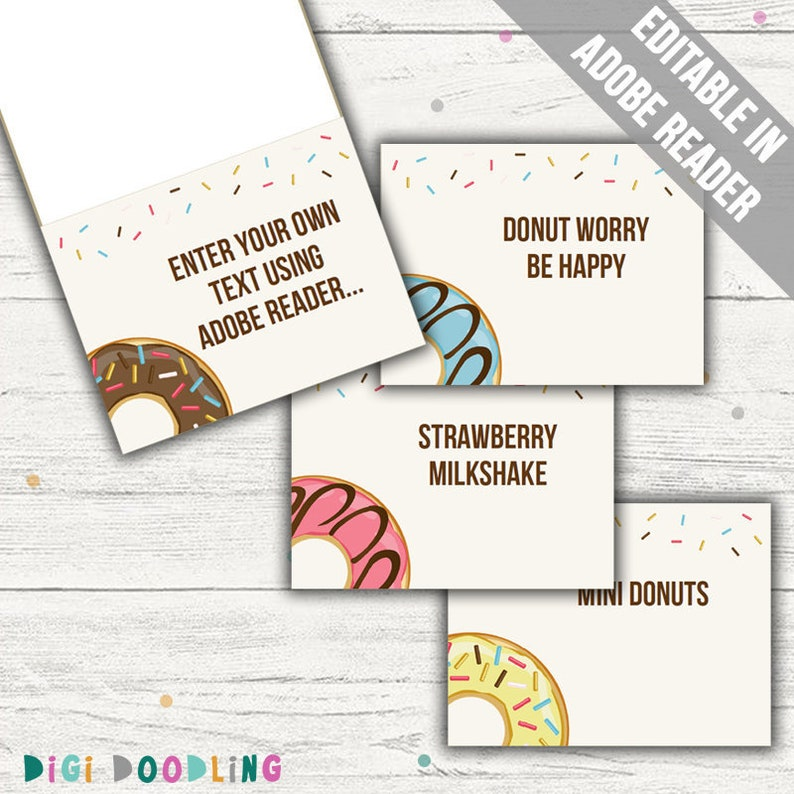 Donut Food Labels (Donut Party Decor)  Editable  Printable  Instant  Download