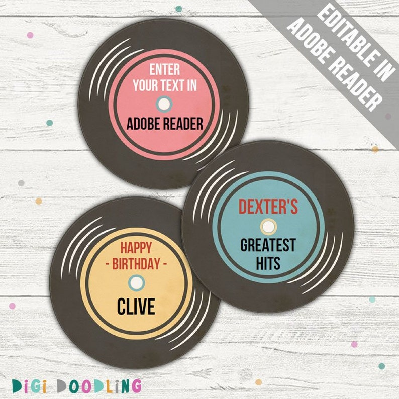 photo relating to Printable Record Labels called Printable Vinyl History Cupcake Toppers. (Vinyl Historical past Bash Decorations). Editable. Instantaneous Obtain.