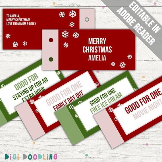 Christmas Coupon Book Template Printable Christmas Coupon Etsy