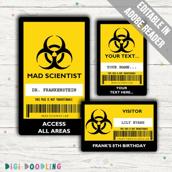 Science Party Id Badge Mad Scientist Id Badge Template Editable Pdfs Instant Download