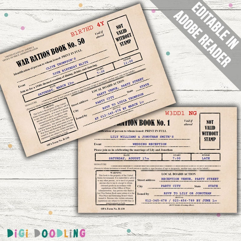 photo about Ration Book Ww2 Printable identify 1940s Ration E-book Invitation (American). Editable PDF. Printable. Instantaneous Down load.