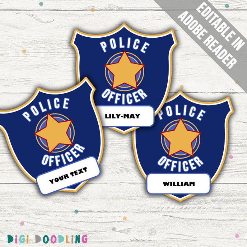 photo about Printable Police Badges known as Law enforcement Officer Badge Printable (Law enforcement Social gathering Printable). Printable PDF (EDITABLE). Immediate Down load.