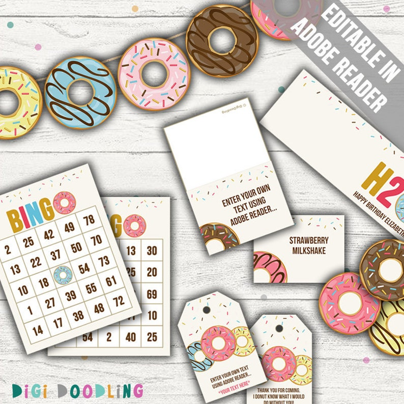 Donut Party Printables (Donut Party Decor, Donut Bingo, Donut Favor Tags)   Editable  Printable  Instant Download