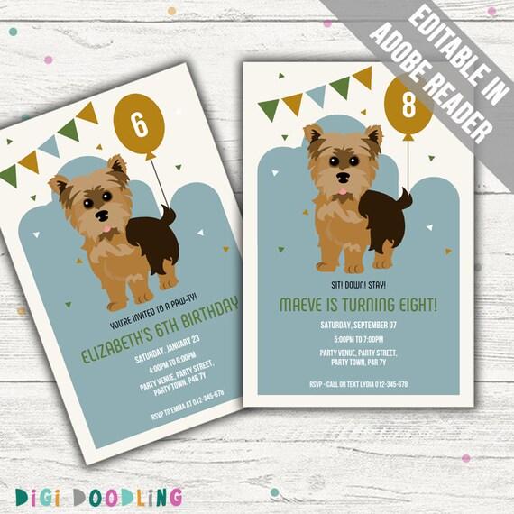 Yorkie Birthday Invitation Dog Party