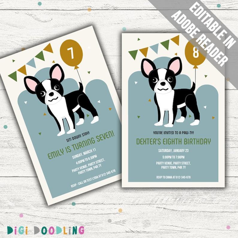 Boston Terrier Invitation Dog Birthday Party Blue Editable PDF Printable Instant Download