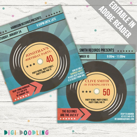 picture about Printable Vinyl Record Labels named Vinyl Heritage Invitation (Songs Invite). Editable PDF. Printable. Immediate Down load.