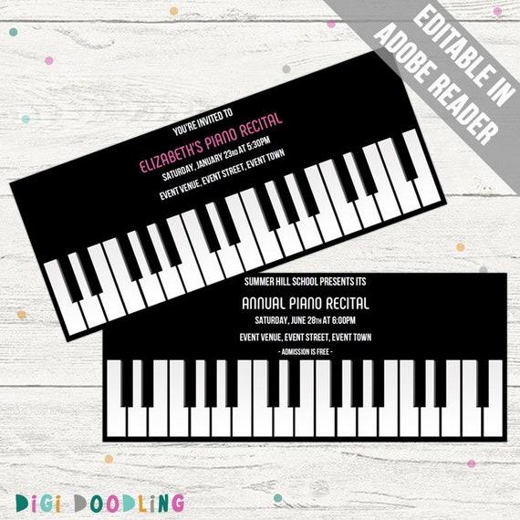 Piano Invitation Template Recital Birthday Retirement Graduation Music Editable PDF Instant Download