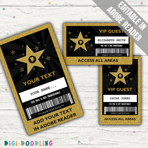 Hollywood Party-VIP-Pass Hollywood VIP Abzeichen.