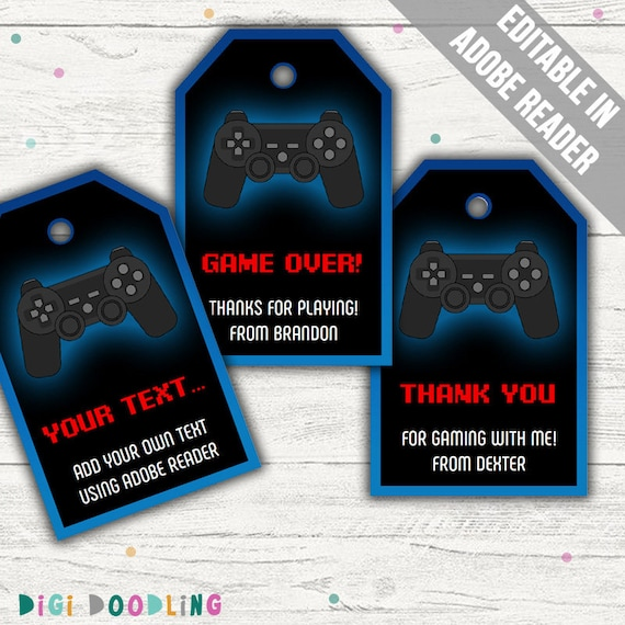 Edit and print with Adobe Reader INSTANT DOWNLOAD Video Game Party Blue Video Game Favor Tag  Video Game Thank you Tag -