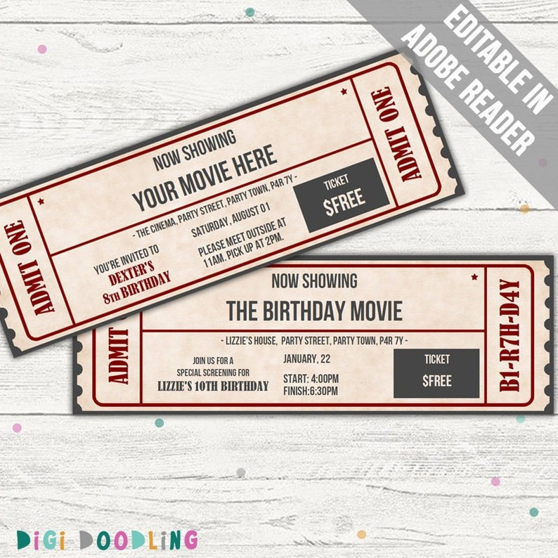 Movie Ticket Template Invitation Event Editable PDF Printable Instant Download
