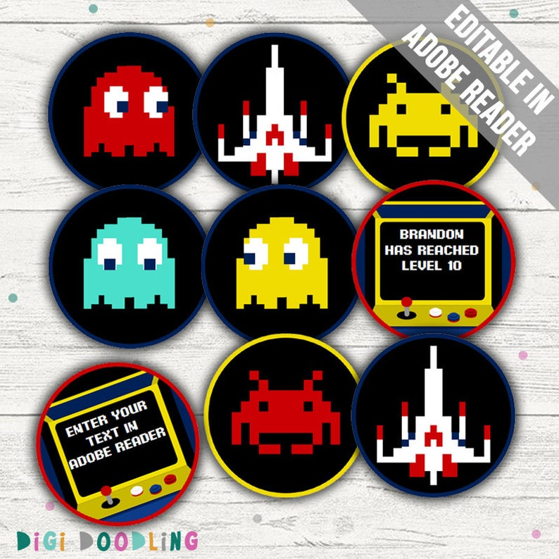 Arcade Party Decorations Cupcake Toppers Video Game Party Etsy