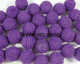 Lot of 2 wooden and crochet beads, for breastfeeding necklace and creations, colour dark purple