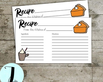 Recipe card, Thanksgiving recipe card, pie recipe card, printable instant download card, Thanksgiving day recipe card
