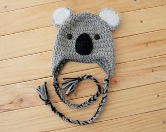 Koala Bonnet au Crochet, Crochet chapeau avec oreillettes, nouveaux-nés à  des tailles adultes, cf0e9a326fc