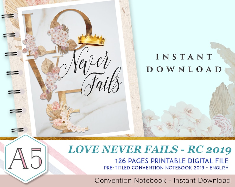 Love Never Fails - English 2019 JW Convention Notebook - Printable Digital  Download - 126 Fully Illustrated pages