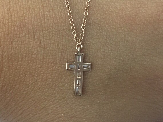 Solid Real Natural Diamond 14K Yellow Gold 0.17CT Religious Cross Pendant