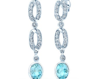 Rare Unique 14K White Gold Oval Cut Aquamarine And Diamond Dangle Drop Oval Link Earrings