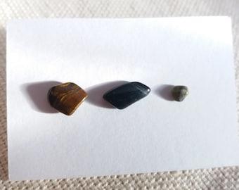 Aventurine Amethyst Unique OOAK studs Tiny Crystal Studs Sodalite Set of 3