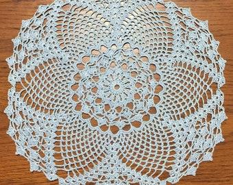 "14.5"" Bridal Blue Pineapple Crocheted Doily"