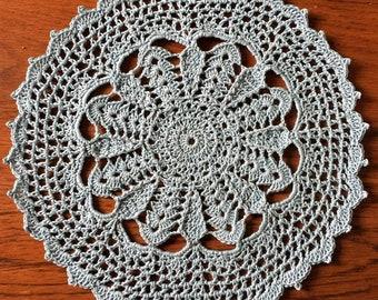 "9.5"" Blue Crocheted Doily"