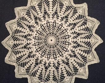 "26"" White Crocheted Doily"