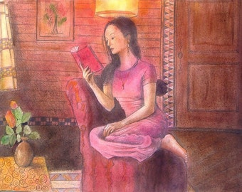 """Painting,watercolored drawing a young woman reads, sitting in an armchair  """" Reading :  a window opens toward the world"""" on paper 50x65cm"""