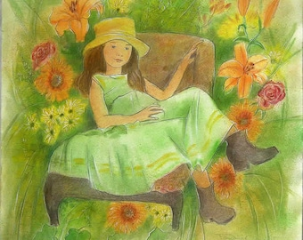 the little girl in an armchair, watercoloreddrawing  50x50cm