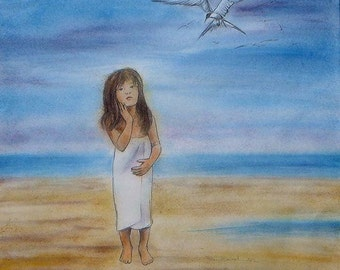 Painting Girl on the beach : watercolored drawing,  the little girl with the seagull,   50x50cm