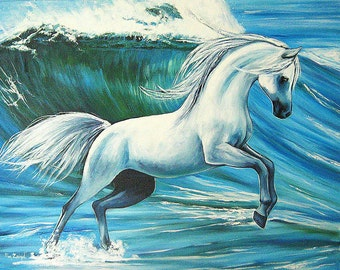 White horse in the waves, oil painting on canvas, 92x72cm