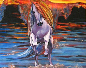 """Marine painting; oil on canvas,  """"the horse powerful and fast like the waves of the rising tide"""" 80x80cm"""