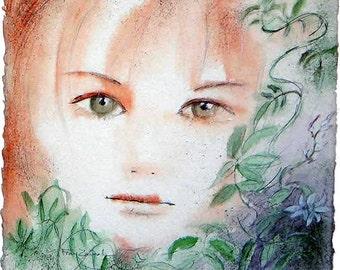Painting : Watercolored graphite drawing   Jasmina's portrait   30x30cm- 600gr Arches paper, original painting, unique piece