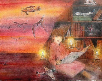 """Mixed technique, painting, artwork  Portrait of a dreaming little girl """"I'll be a pilot"""", watercolored drawing  60x72cm paper 600gr"""