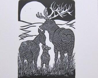 Deer linoprint full moon