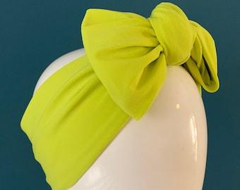Lime turban bow headband