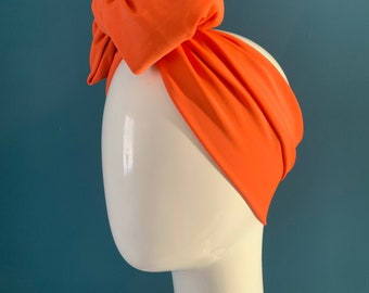 Orange turban bow headband