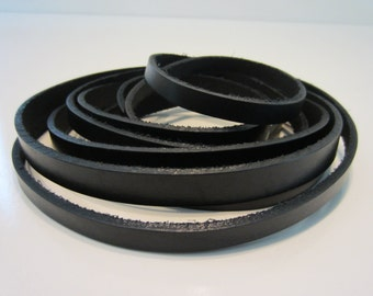 """1/2"""" or 3/8"""" Leather Strip Strap Black 55""""-60"""" Long Leather Strapping"""