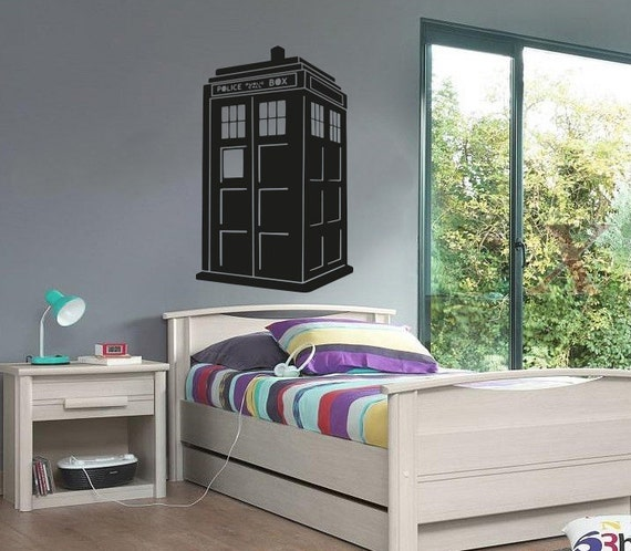 New Doctor Who TARDIS Wall Decal Black Wall Stickers Large   Etsy