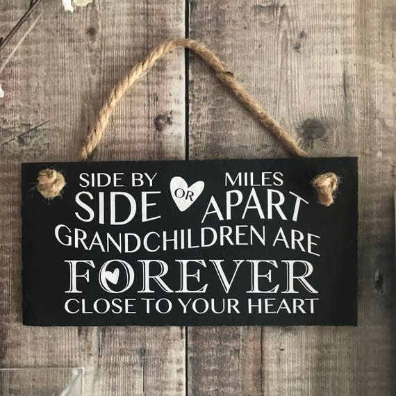 Grandchildren Quote Side By Side Or Miles Apart Grandparents Etsy