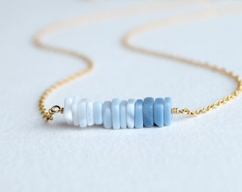 Blue Peruvian opal necklace, October birthstone jewelry, Ombre necklace, unique handmade jewelry, Self-love, Courage&Ingenuity