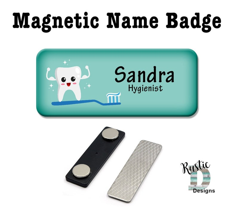 Super Tooth Dental Hygienist Dentist Magnetic Name Badge, Magnetic Name Tag