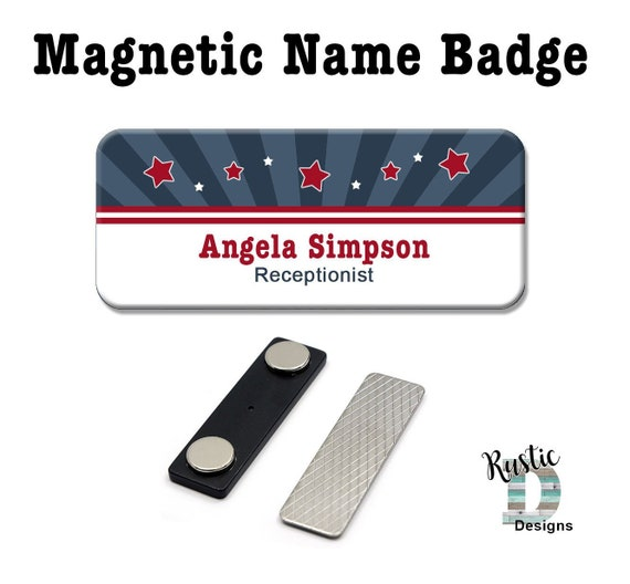 Stars & Stripes Magnetic Name Badge, Magnetic Name Tag