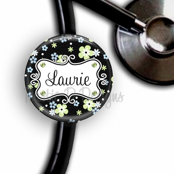 SUMMER BREEZE FLOWERS PERSONALIZED RETRACTABLE ID BADGE HOLDER OR LANYARD