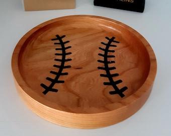 Baseball Wood Trays for Baseball Coaches, Players - Baseball Bowls - Baseball Gifts - Baseball Ring Dish - Baseball Catchall - Coach Gift