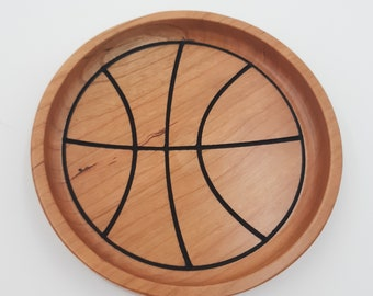 Basketball Wood Trays for Coaches, Players - Sports Trays - Baseball, Soccer, Lacrosse, Volleyball, Softball, Basketball - Coach Gift
