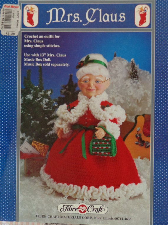 Pattern Mrs Claus Crochet Outfit Doll Pattern Fibre Craft From