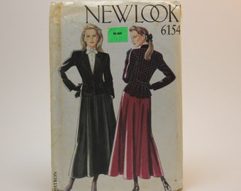 VTG 90's New Look UNCUT Sewing Pattern 6154, 6 Sizes in One, Blazer/Jacket and Skirt. Professional/Dress Jacket, A-Line Skirt.
