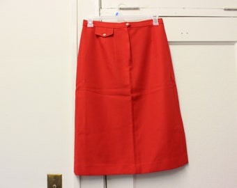 VTG 1970's Large Red Midi Length Straight Skirt by College Town in Excellent Condition.  Polyester, Small Pocket, 31 Inch Waist.